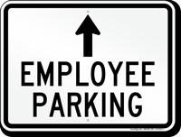 Employee Parking Ahead Arrow Sign