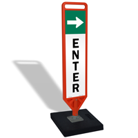 Enter With Arrow Flexpost Portable Paddle Sign Kit