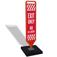 Exit Only No Re-Entry Flexpost Portable Paddle Sign Kit