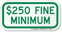 $250 Fine Minimum ADA Handicapped Sign