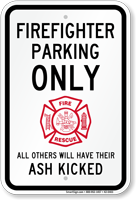 Firefighter Parking Only Reserved Parking Sign