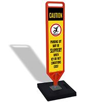 Caution Slippery Parking Lot Portable FlexPost