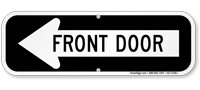 Front Door Left Arrow Directional Sign