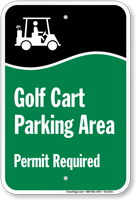 Golf Cart Parking Area Permit Required Sign