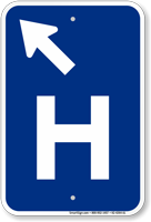 H Symbol Diagonal Left Arrow Entrance Sign