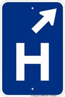 H Symbol Diagonal Right Arrow Entrance Sign