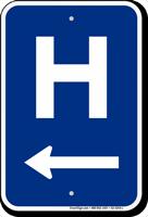H Symbol Left Arrow Entrance Sign