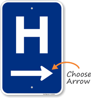 H Symbol Right Arrow Entrance Sign