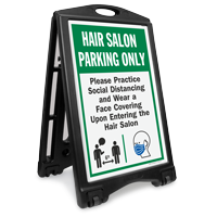 Hair Salon Parking Only Practice Social Distancing and Wear a Face Covering Upon Entering BigBoss A-Frame Portable Sidewalk Sign