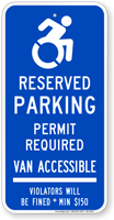 Connecticut Accessible Parking, Permit Required Sign