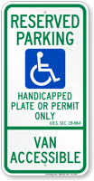 Arizona Reserved ADA Parking Sign, A.R.S. § 28-884