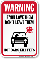 Warning Dont Leave Dog In Car Sign