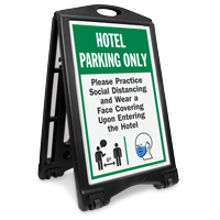 Hotel Parking Only Practice Social Distancing and Wear a Face Covering Upon Entering BigBoss A-Frame Portable Sidewalk Sign