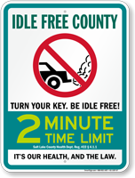 State Idle Sign for Salt Lake County, Utah