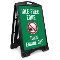 Idle-Free Zone, Turn Engine Off Portable Sidewalk Sign