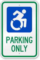 Parking Only Sign With Modified ISA Symbol