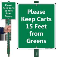 Keep Carts 15 Feet From Greens LawnBoss Sign
