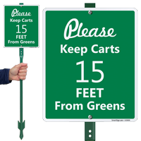 Please Keep Carts 15 Feet From Greens Sign