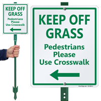 Keep Off Grass Lawnboss Sign, Left Arrow