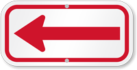 Red Directional Supplemental Parking Sign