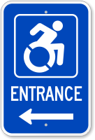 Accessible Entrance Sign (symbol and right arrow)