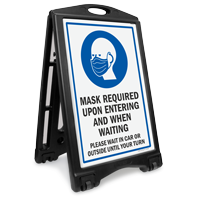 Mask Required Upon Entering And Waiting Sidewalk Sign