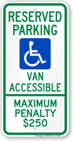 North Carolina Reserved Parking, Van Accessible Sign