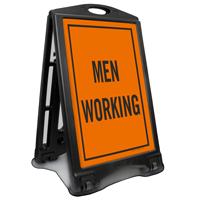 Men Working Portable Sidewalk Sign