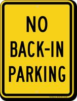 No Back In Parking Sign