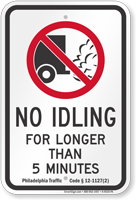 Philadelphia City No Truck Idling For Longer Than 5 Minutes Sign