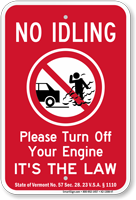 State Idle Sign for Vermont