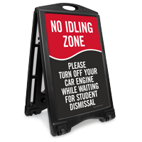No Idling Zone Portable Sidewalk Sign