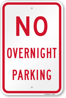 No Overnight Parking Aluminum Sign