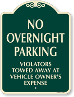 No Overnight Parking SignatureSign