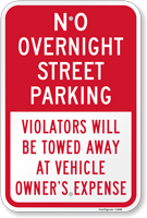 No Overnight Street Parking Sign