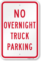 No Overnight Truck Parking Sign