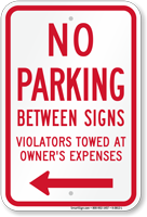 No Parking Between Signs (Left Arrow)