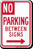 No Parking Between Signs, Right Arrow
