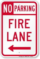 No Parking, Fire Lane At Left Sign
