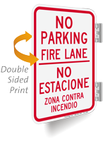 No Parking, Fire Lane, Bilingual Double-Sided Sign