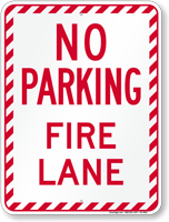 No Parking, Fire Lane, Stripped Border Sign