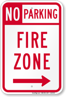 No Parking Fire Zone, Right Arrow Sign