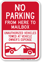 No Parking From Here To Mailbox Sign