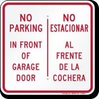 No Parking Front Of Garage Door Bilingual Sign