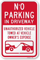 No Parking Unauthorized Vehicles Towed Sign