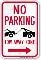 No Parking, Tow-Away Zone In Right Sign