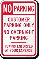 No Overnight Customer Parking Sign