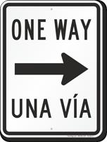 One Way Una Via With Right Arrow Bilingual Sign