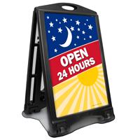 Open 24 Hours A-Frame Portable Sidewalk Sign Kit