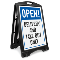 Open Delivery And Take Out Sidewalk Sign